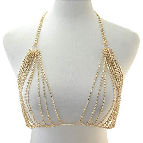 Happyyami Bikini Brustkette Strass Body Kette Sexy BH Schmuck Badeanzüge Halskette Diamond Für Damen