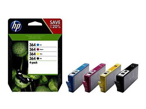 HP 364 4-Pack Negro/Cian/Magenta/Amarillo Cartuchos de Tinta Originales, Negro, Cian, Magenta, Amarillo Multipack, 4 Piezas