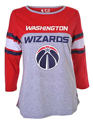 Ultra Game NBA Washington Wizards Womens T-Shirt Raglan Baseball 3/4 Long Sleeve Tee Shirt, Team Color, X-Large