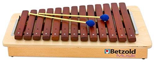 Betzold Musik 84258 - Xylophon aus Holz für Kinder, Alt-Xylofon diatonisch 16 Klangstäbe - Musik-Instrumente Schule