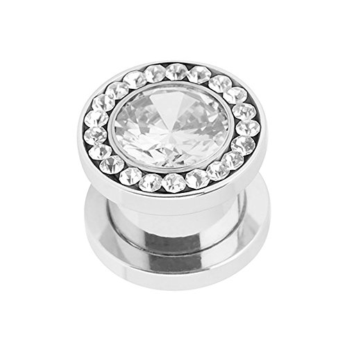 Piercingfaktor Flesh Tunnel Ohr Piercing Plug Ohrpiercing Schraub Edelstahl Multi Zirkonia Kristall 3mm Clear Clear