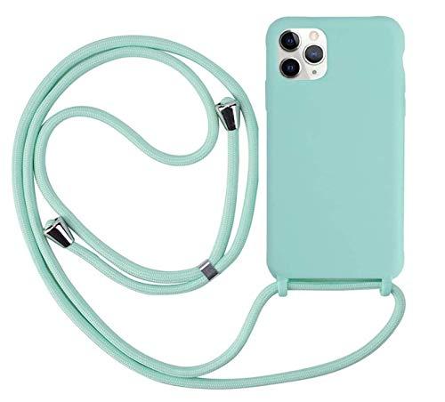 MEIVS Funda Compatible con iPhone 11 Pro, Ajustable Collar Correa de Cuello CordónCarcasa de Silicona-Verde Claro