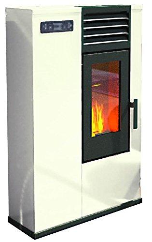 Pelletofen von Eva Stampaggi Srl, Modell: Susy Slim 98017-20 mit Feuerstelle, 7,5kW, elfenbeinfarben