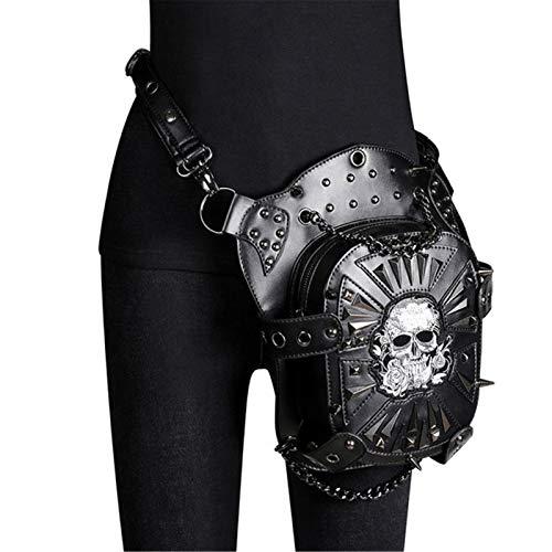 EVFIT Bolso de Brazo de la Pierna Steampunk Cintura Bolso Fanny Pack Fashion Gothic Skull Cuero Hombro Crossbody Messenger Might Pierna Hip Holster Monedero (Color : Black, Size : One Size)