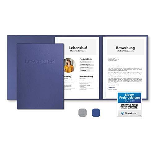 10 Stück 3-teilige Bewerbungsmappen Blau mit 2 Klemmschienen in feinster Lederstruktur - hochwertige Prägung ''BEWERBUNG'' - direkt vom Hersteller STRATAG