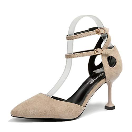 Zapatos de tacón Alto con Punta Puntiaguda para Mujer Zapatos de Verano con Correa en el Tobillo Zapatos de tacón Fino Hebilla para Fiesta Bombas con Punta Cerrada