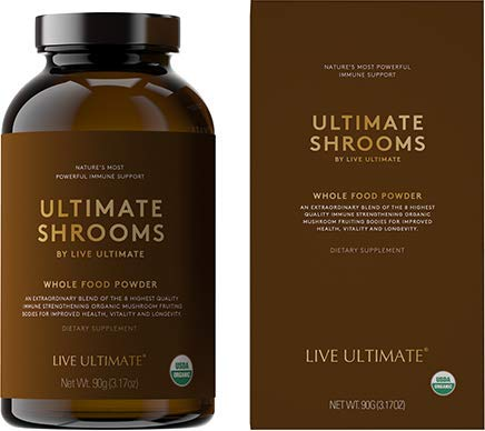 Live Ultimate Shrooms USDA Certified Whole Food Mushroom Extract Powder - 8 Organic Mushrooms Including Chaga, Cordyceps, and Reishi Mushroom Extract - Natural Energy, Immune Support and Detox