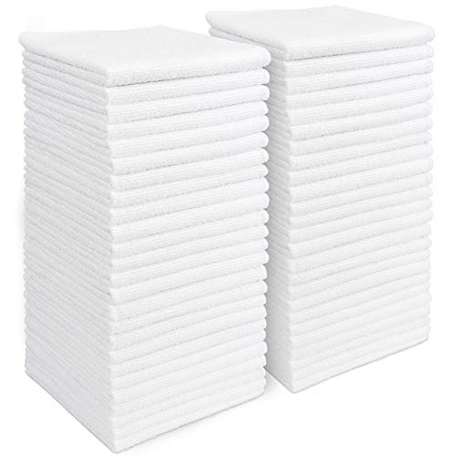 AIDEA Microfiber Cleaning Cloths White-50PK, Strong Water Absorption, Lint-Free, Scratch-Free, Streak-Free, Dish Towels White (11.5in.x 11.5in.)