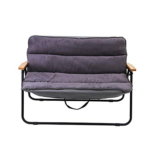 ADENG Doppel-Strandstuhl, faltbarer Campingstuhl, Stahlrahmen, tragbar, Doppel-Rückenlehne, Klappstuhl grau