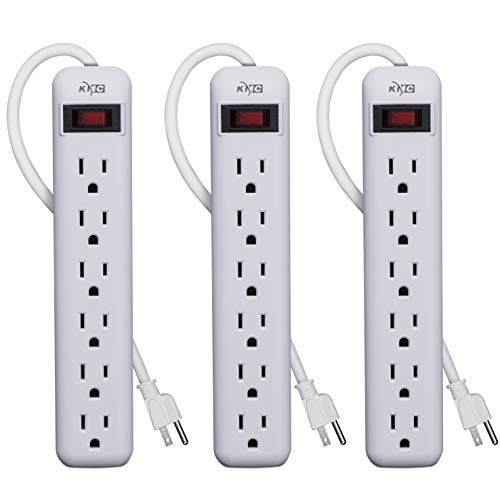 KMC 6-Outlet Power Strip 3-Pack, Overload Protection, 3-Foot Cord, White