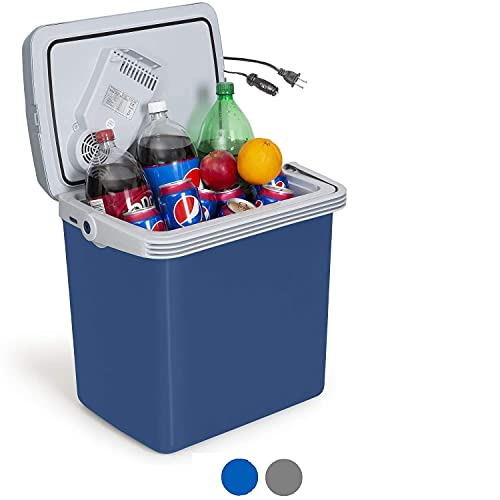 K-Box Electric Cooler and Warmer for Car and Home - 34 Quart (32 Liter) - Dual 110V AC House and 12V DC Vehicle Plugs (Blue)