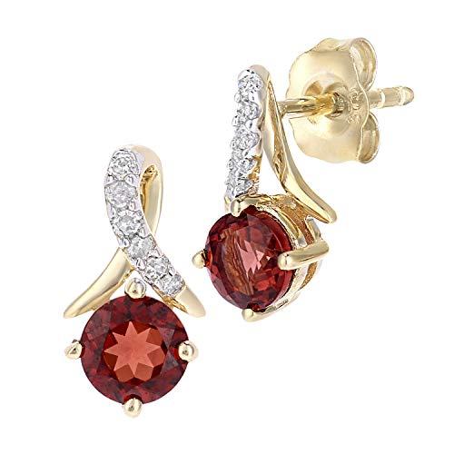 Naava 9ct Yellow Gold Round Garnet and Diamond Twist Drop Earrings