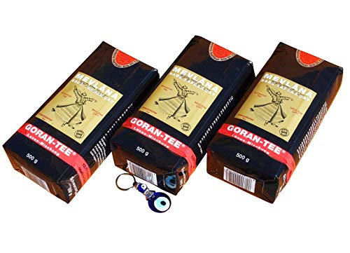 3 x 500g Mevlana - Goran Tee Luxusmischung - Lüks siyah yaprak cay + Orient-Feinkost Nazar Schlüsselanhänger