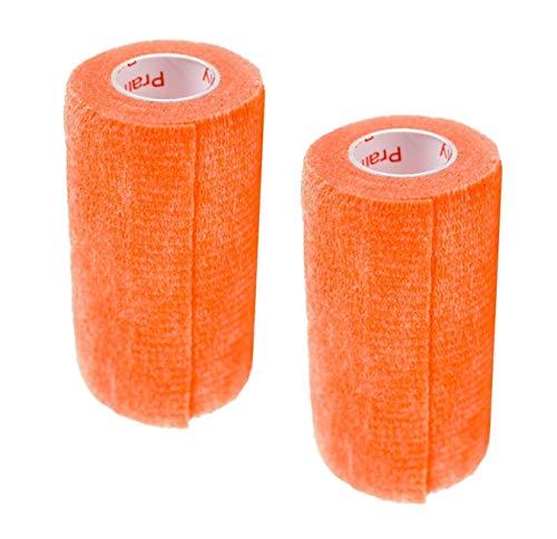 Vet Wrap Rap Tape (Orange) (2 Pack) (3 Inch x 15 feet) Self Adhesive Adherent Adhering Cohesive Flex Self Stick Bandage Grip Roll Dog Cat Pet Horse