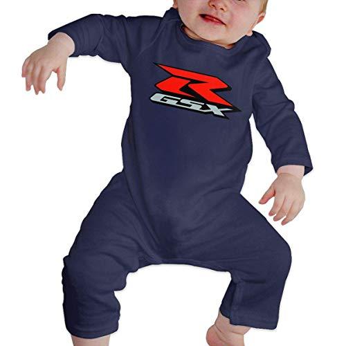 GDESFR Body de Jersey de Manga Larga con Cuello en O para bebé Unisex Suzuki-gsx-r-Logo Ropa de rastreo Divertida Negro