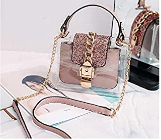 Adebie - Transparent Women Brand Composite Crossbody Bag Female Fashion 2019 Summer Glitter Chains Sequin Shoulder Bags Clear Handbag Pink