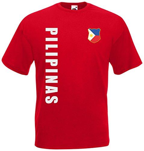 Philippinen Pilipinas T-Shirt Trikot Wunschname Wunschnummer (Rot, XL)