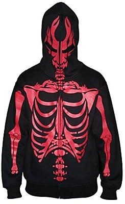 Men Full Face Mask Skeleton Skull Hoodie Sweatshirt Halloween Costume Black Red Bones XL from