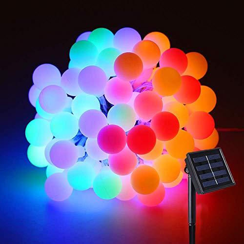 SYTUAM Guirnalda Luces Exterior Solar 10M RGB 100 Pequeñas bolas lindo IP44 Impermeable Solar Luces Decorativas, 8 modos Luces Decorativas, para Exterior y Interior, Jardines, Boda