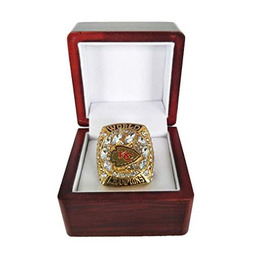WANZIJING Super Bowl Chiefs Ring, Kansas City Chiefs NFL 54Th Rugby 2019-Meisterschaft Ringe Fans Sammlung mit Display Holzkiste,9