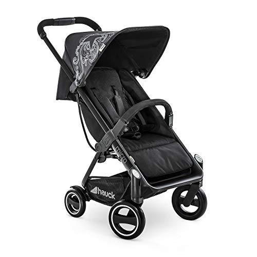 Hauck Micro - silla de paseo moderno y compacta, respaldo reclinable, plegable con una sola mano, ligera, chasis de aluminio, manillar regulable, luces reflectantes, 0 meses a 25kg, star black (negro)