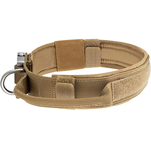 yisibo Tactical Dog Collar for Medium Large Dogs Military Dog Collar Heavy Duty Dog Collar with Metal Buckle Control Handle(Large,Coyote Brown)