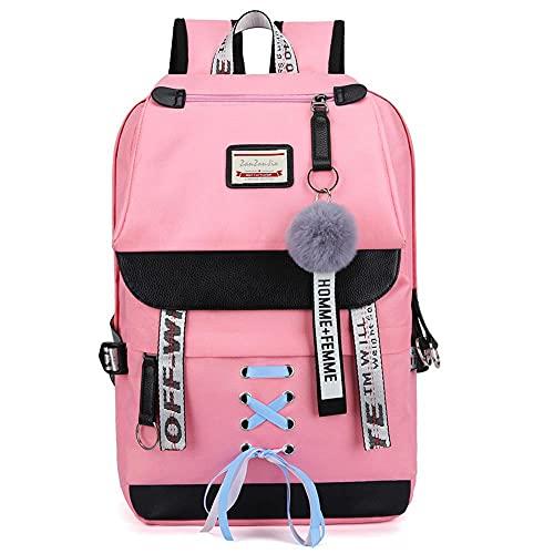 YANJJ Mochila Escolar para Niños, Decoración De Cinta con Nudo De Lazo, con Enchufe USB,Mochila Escolar para Adolescentes De Gran Capacidad,Adecuado para Niñas De 6 A 12 Años Pink-43 * 27 * 16cm