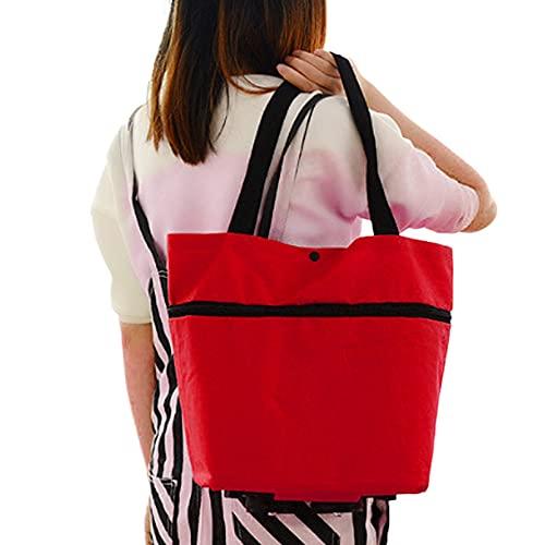 Xuefang Bolso de la carretilla portátil multifuncional Oxford Folable Tote Bag compras reutilizables bolsas de comestibles