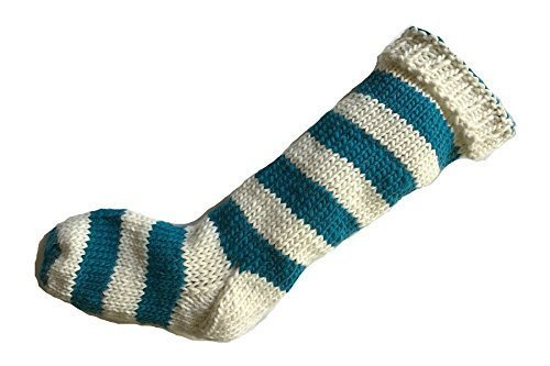 Teal Dark Aqua Christmas Opening large release sale Stocking Green and White Stri Blue Translated