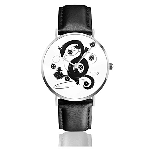 Unisex Dragon Ball Z Shenron Wish Uhren Quarz Lederuhr mit schwarzem Lederband