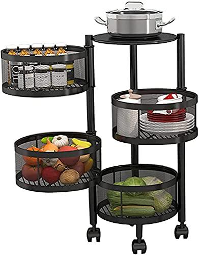 Fácil de usar Unidad de estanterías estrechas de almacenamiento de cocina con ruedas con ruedas Piso de piso Multifunción Carrito para el almacenamiento de estantes de verduras de frutas (color: negro