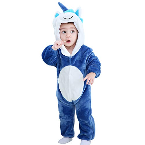MICHLEY Bebé Mameluco Niños y Niñas Animales de Pelele Pijama Caballo Azul por 2-5 Meses