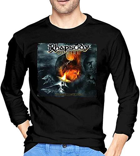 Mens nero manica lunga Rhapsody of Fire Camicie per gli uomini Grafica Girocollo Tee Top Personalizzato Tees T-shirt Nero XL