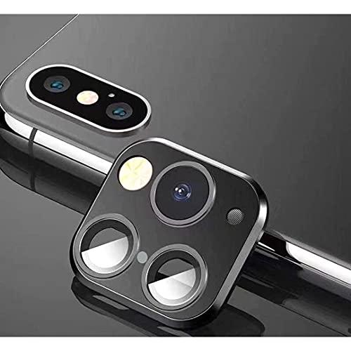 FTYSXP Lente de la cámara modificada Segundos Cambiar la Cubierta para iPhone X/XS/XS/MAX Pegatina Cámara Falsa para iPhone 11 Pro MAX Protector de Metal Cambiar a iPhone Pro/MAX (Negro)