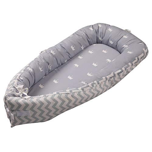 Baby Nest Nido bebé Reductor De Cuna Reversible Capullo Multifuncional de Babymajawelt (strip gray)