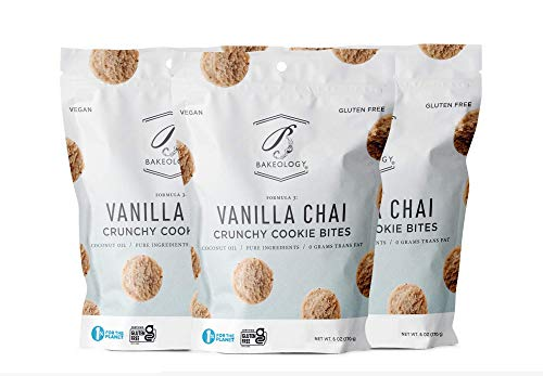 Bakeology Vegan Cookies Gluten Free Crunchy Mini Cookie Bites, Dairy Free, Non-GMO, 0g Trans Fat, Plant Based Dessert Sweets, Made with Coconut Oil & Pure Ingredients (Vanilla Chai, 3 pack)