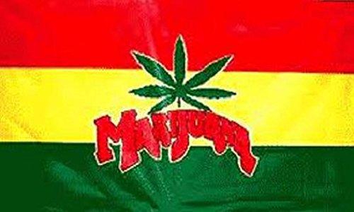 Marijuana Rood Geel Groen Vlag 5ft x 3ft Groot - 100% Polyester - Metalen Oogjes - Dubbel gestikt