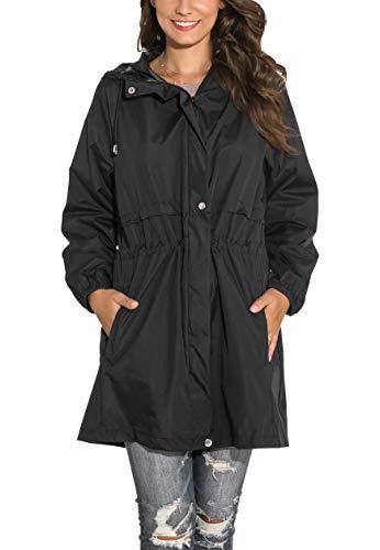 GUANYY Rain Jacket Women Waterproof Hooded Raincoat Active Outdoor Windbreaker Trench Coat (Black, Medium)