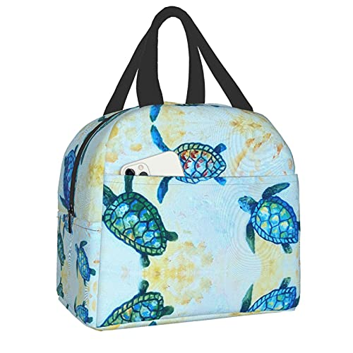 Women/Men Kids Blue Baby Sea Turtle Lunch Bag for Gym Hiking Picnic Travel Beach, Polyester Insulated Thermal Totebag Lunch Container, Non-Toxic Carry Case Organizer