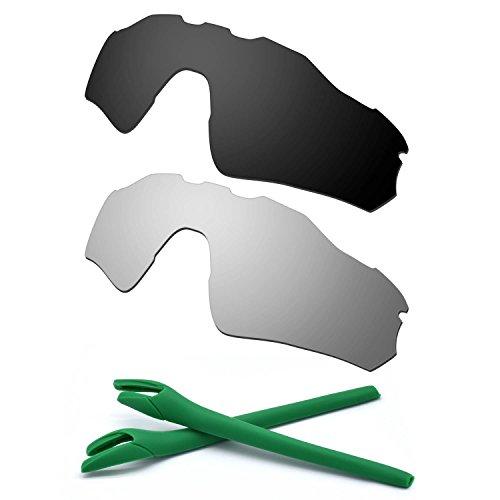 HKUCO For Oakley Radar EV Path Black/Silver Polarized Replacement Lenses And Green Earsocks Rubber Kit
