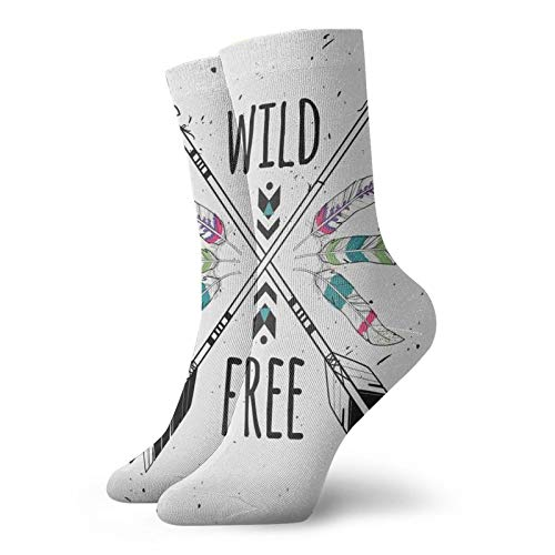 Calcetines de compresión para mujer y hombre, flechas étnicas con cita salvaje libre de motivación primitiva, ideal para circulación, médico, correr