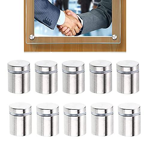 Fijaciones de Pared de Separación, 10Pcs Publicidad Clavos de Tornillo, Pernos de Fijación de Publicidad, Pernos de Fijación de Separadores de Vidrio de Acero Inoxidable, para Carteles Vidrio