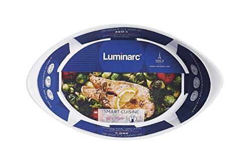 Luminarc - Plat ovale Blanc Smart Cuisine Carine 250°C - Plat à Four en Verre Innovant - Léger et Extra-Résistant - Nettoyage Facile - Fabrication en France - Dimensions 29x17 cm