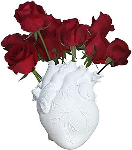 JYHZ Decoraciones, Decoraciones anatómicas de la Escultura en Forma de corazón, Decoraciones de la encimera de la Resina de florero de la Resina, Decoraciones de encimera de Estante casero (Blanco)