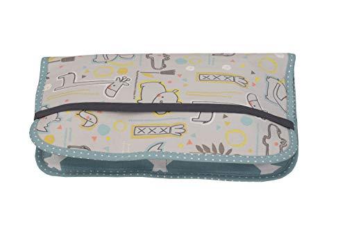 ULLENBOOM ® Windeltasche für unterwegs Safari Pfefferminz (Made in EU) - Wickeltasche für bis zu 3 Windeln, Feuchttücher & weiteres Zubehör, Windeletui mit Reißverschluss & Gummiband, klein & lässig