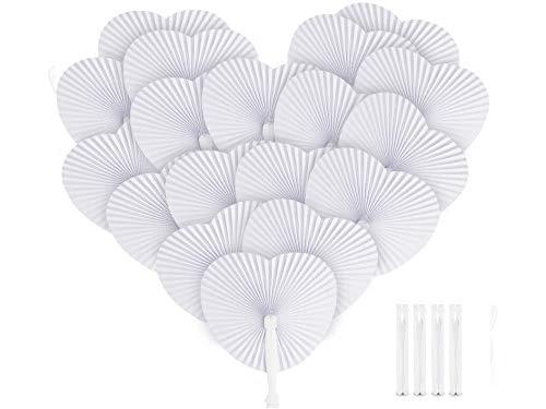 ABSOFINE - Ventaglio di carta, 36 pezzi, in carta bianca, decorazione per matrimonio, festa, regalo per matrimonio, compleanno, fai da te