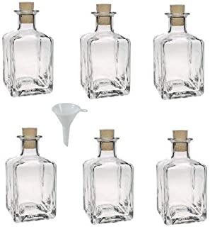 Viva Haushaltswaren Mini Glass Bottles 200 ml Cork Tops With Funnel Diameter 7 cm Set of 6