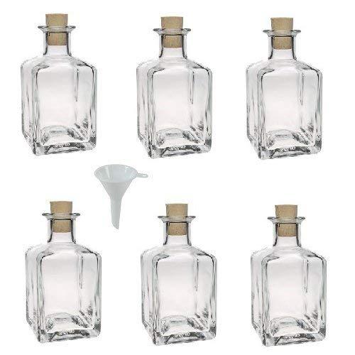 Viva Haushaltswaren - Bottiglie in Vetro Piccole, 6 Pezzi, capacità: 200 ml, con Tappo in Sughero e Imbuto Ø 7 cm