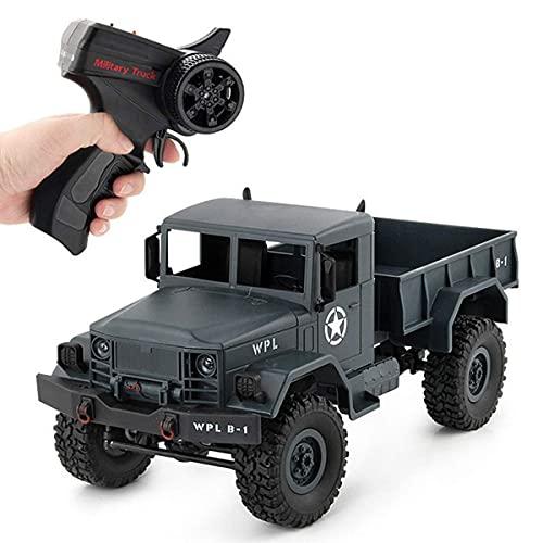 Coche control remoto con tracción en las cuatro ruedas, vehículo todoterreno juguete, buggy montañismo, modelo camión escalada militar, radio militar, luz LED que se puede abrir automáticamente, reg