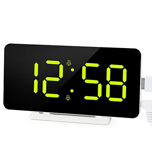 Edillas Sveglia Digitale, Ampio Display a LED Doppio Allarme,Orologio con Superficie a Specchio con Funzione Snooze e 3 Livelli di Luminosità Sveglia con Connessione di Ricarica USB Regolabile (Verde)